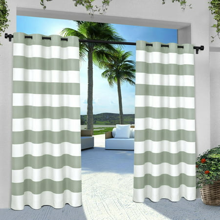 Exclusive Home Curtains 2 Pack Indoor/Outdoor Stripe Cabana Grommet Top Curtain Panels ()