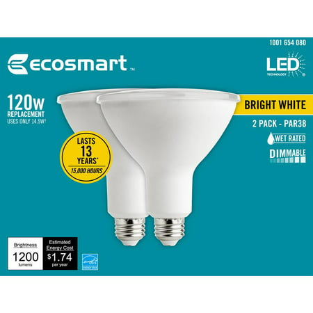 EcoSmart 120-Watt Equivalent PAR38 Dimmable Energy Star Flood LED Light Bulb Bright White (2-Pack)