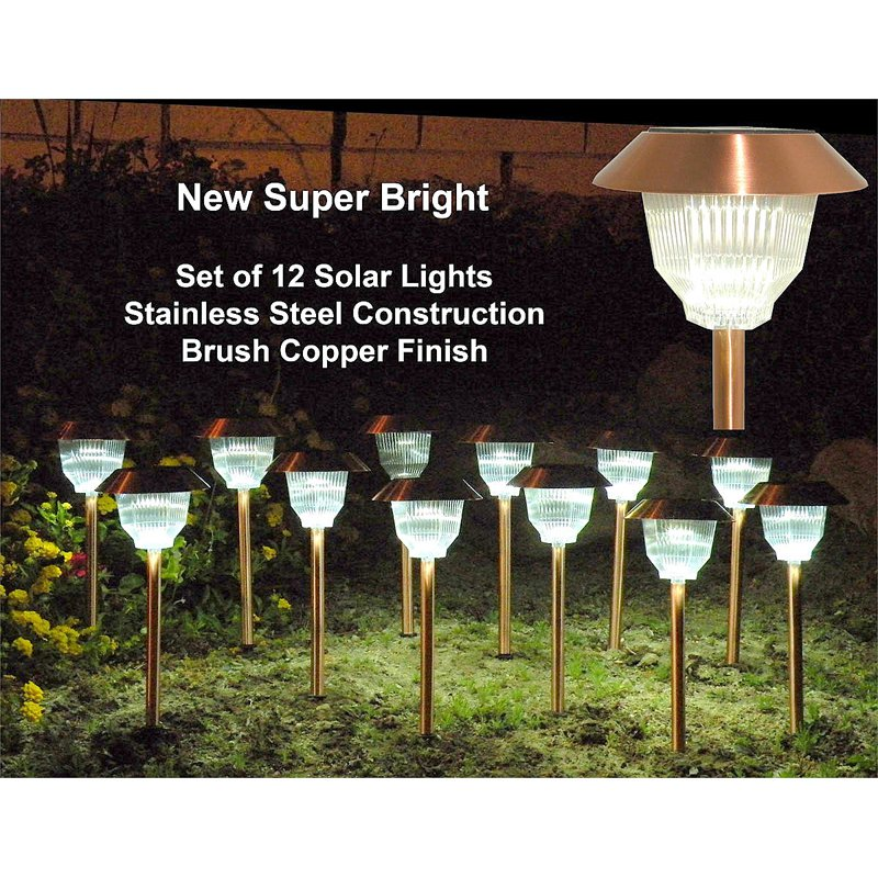 Homebrite Solar Power Rockwell Path Lights - Set of 12