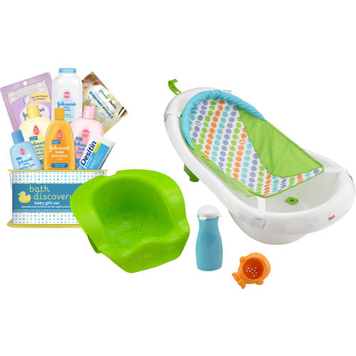 Fisher-Price 4-in-1 Grow-with-Me Tub with Bonus Johnson's Bathtime Gift Set