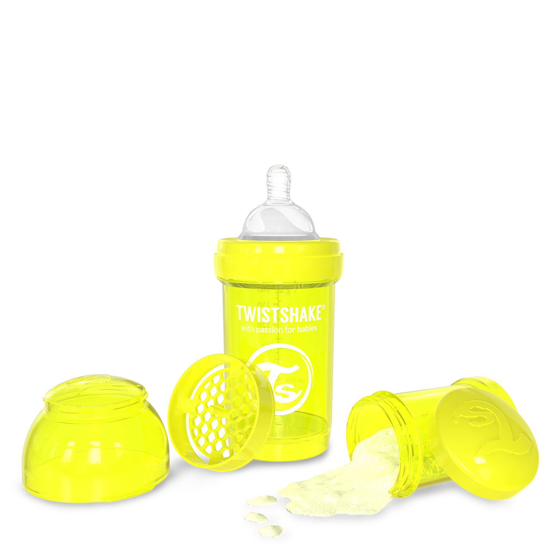 Twistshake Anti-Colic Baby Bottle & Accessories 180ml 6oz Yellow Starlight by Twistshake