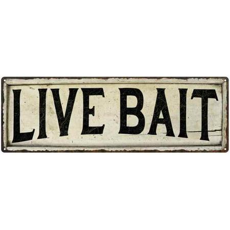 Live Bait Chic Vintage Look Farm House Wall Décor 8x24 Metal Sign