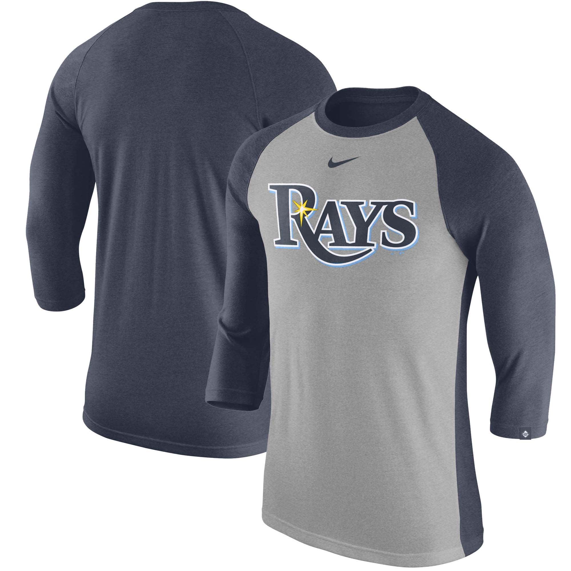 Tampa Bay Rays Nike Wordmark Tri-Blend Raglan 3/4-Sleeve T-Shirt - Gray/Navy