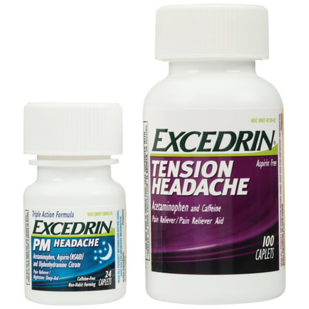 Excedrin® Tension Headache and PM Headache Pain Relief Caplets Convenience Pack 124 (Best Pain Reliever For Tension Headache)