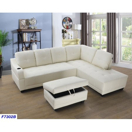Shelly Right Facing Sectional Sofa with Ottoman,White ()
