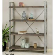 """63.5"""" Antique Silver Metal & Walnut Stained Fir Wood Etagere Display Shelves"""