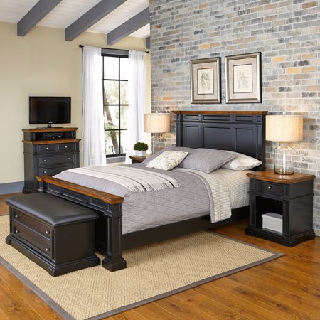 Home Styles Americana Queen Bed, 2 Night Stands, Media Chest and Upholstered Bench