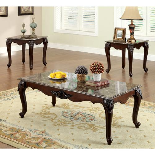 Furniture of America Callington Traditional 3-Piece Faux Marble Top Accent Table Set by Overstock
