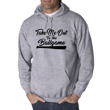 Trendy USA 1449 - Adult Hoodie Take Me Out To The Ballgame Baseball Bat Song Sweatshirt 4XL Heather Grey
