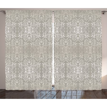 Gray  Curtains 2 Panels Set, Victorian Lace Flowers and Leaves in Retro Background Old Fashioned Mod Graphic Print Home, Living Room Bedroom Decor, Silver Gray, by Ambesonne