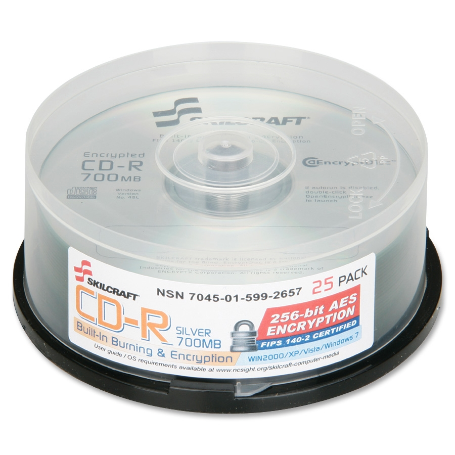 Skilcraft Cd Recordable Media - Cd-r - 52x - 700 Mb - 25 Pack Spindle - 120mm1.33 Hour Maximum Recording Time (NSN5992657)