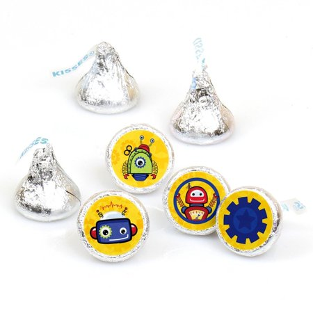 Robots - Party Round Candy Stickers - Labels Fit Hershey's Kisses (1 sheet of 108)