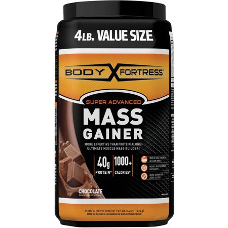 Body Fortress Super Advanced Mass Gainer Protein Powder, Chocolate, 40g Protein, 4 Lb