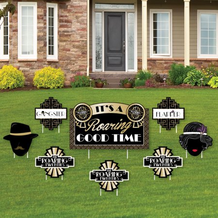 Roaring 20's - Yard Sign & Outdoor Lawn Decorations - 1920s Art Deco Jazz Party Yard Signs - Set of 8](1920's Decoration)
