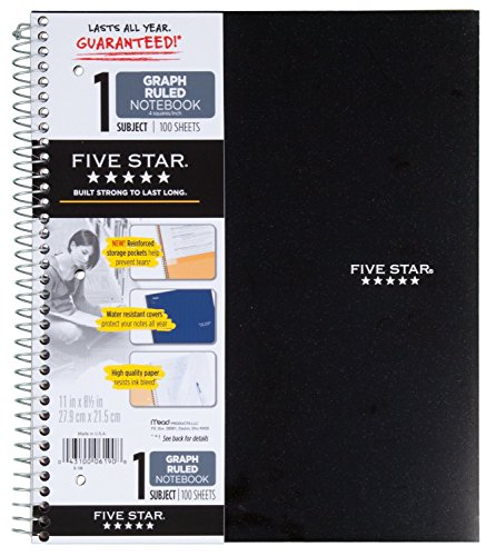 "Five Star 06190 11"" X 8-1/2"" Graph Ruled 1 Subject Notebook Assorted Colors (Pack of 2)"