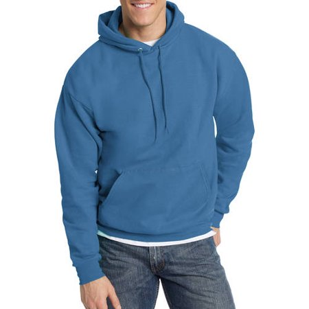 Hanes Mens EcoSmart Fleece Pullover Hooded Sweatshirt - Denim Blue L