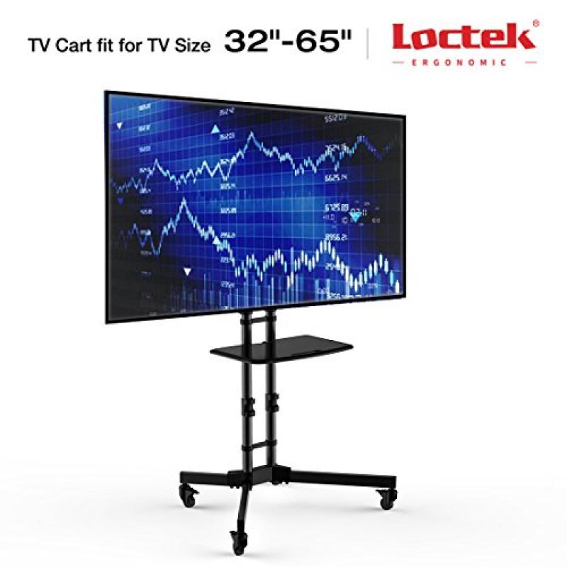 "Loctek P3B Universal Mobile TV Cart TV Stand for LED, LCD, Plasma Displays 32-65"", Black"
