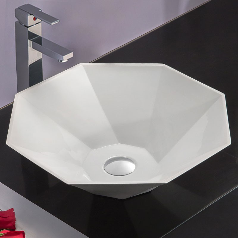 Decoraport White Round Artificial Stone Above Counter Bathroom Vessel Sink Above Counter Sink Bowl Vanity Basin (HB9037)