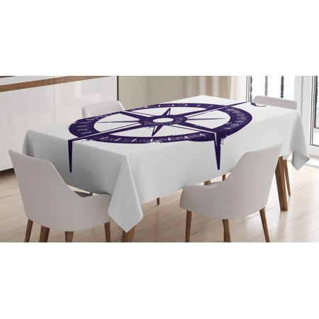 Compass Tablecloth, Sailing Compass with a Giant North Symbol on with a Windrose Navy Blue Color Scheme, Rectangular Table Cover for Dining Room Kitchen, 52 X 70 Inches, Navy Blue, by Ambesonne](Navy Color Scheme)