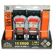 Everest Ergo Ratchet Tie-Down Strap, 3300 lbs, 2-Pack