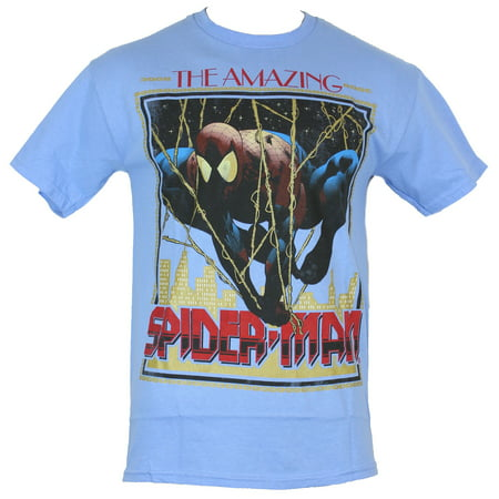 Spider-Man (Marvel Comics) Mens T-Shirt - Dangling Over The City Amazing Box