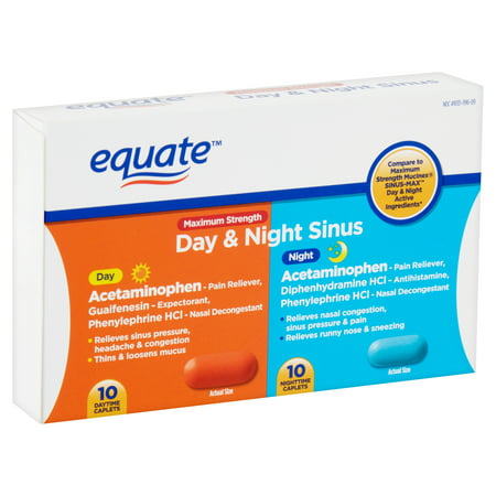 Equate Maximum Strength Day & Night Sinus Caplets, 20