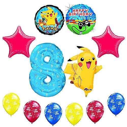 "NEW! 12 pc Pokemon Go ""You've Leveled Up"" 8th Happy Birthday Balloon Supplies"