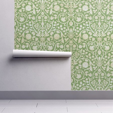 Removable Water Activated Wallpaper French Floral Green Flowers