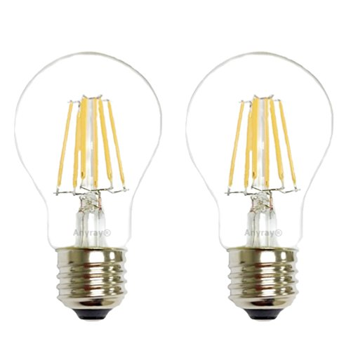 (2-Bulbs) Anyray 40 Watt Equivalent, A19, LED Light Bulb, Clear, E26, Vintage Edison Style, Warm white 40W