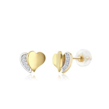 10K Yellow Gold Heart 0.022 Ctw Diamond Earrings 5mm Unisex Earrings 10k Yellow Gold Heart Earrings