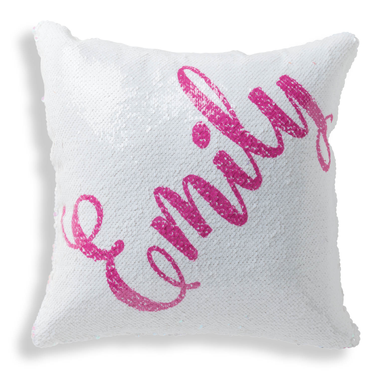 Personalized Reversible Pink Sequin Pillow - My Name