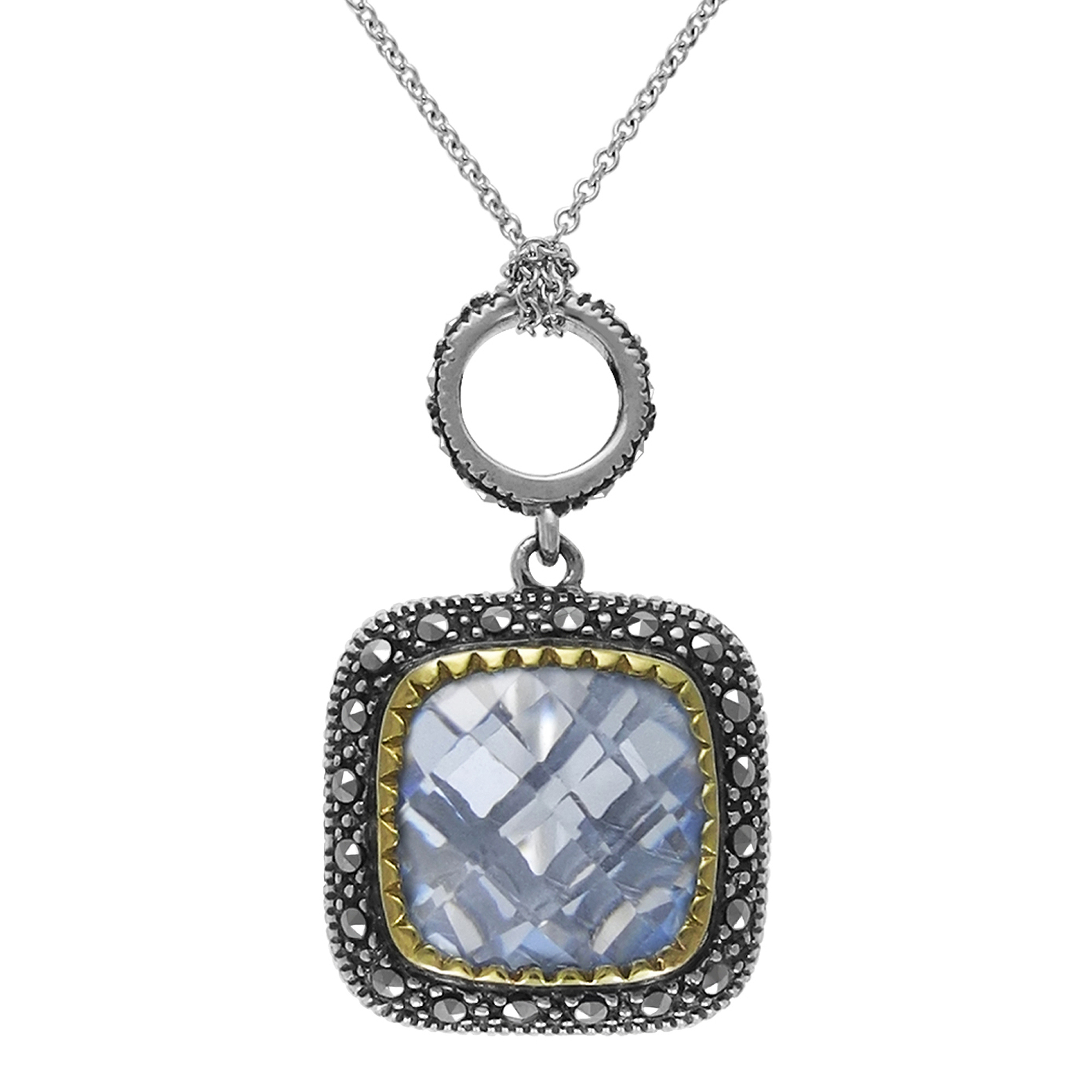 """MARC Sterling Silver Nacklace Set with Blue Synthetic Quartz & Marcasite in 18"""" chain (Gold Trimmed)"""