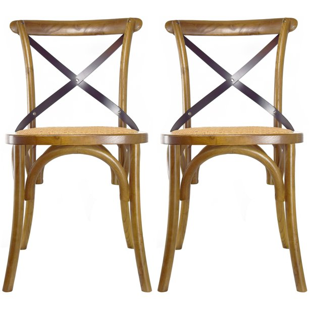 Modern Formal Living Room, 2xhome Set Of 2 Walnut Mid Century Modern Farmhouse Antique Cross Back Chair With X Back