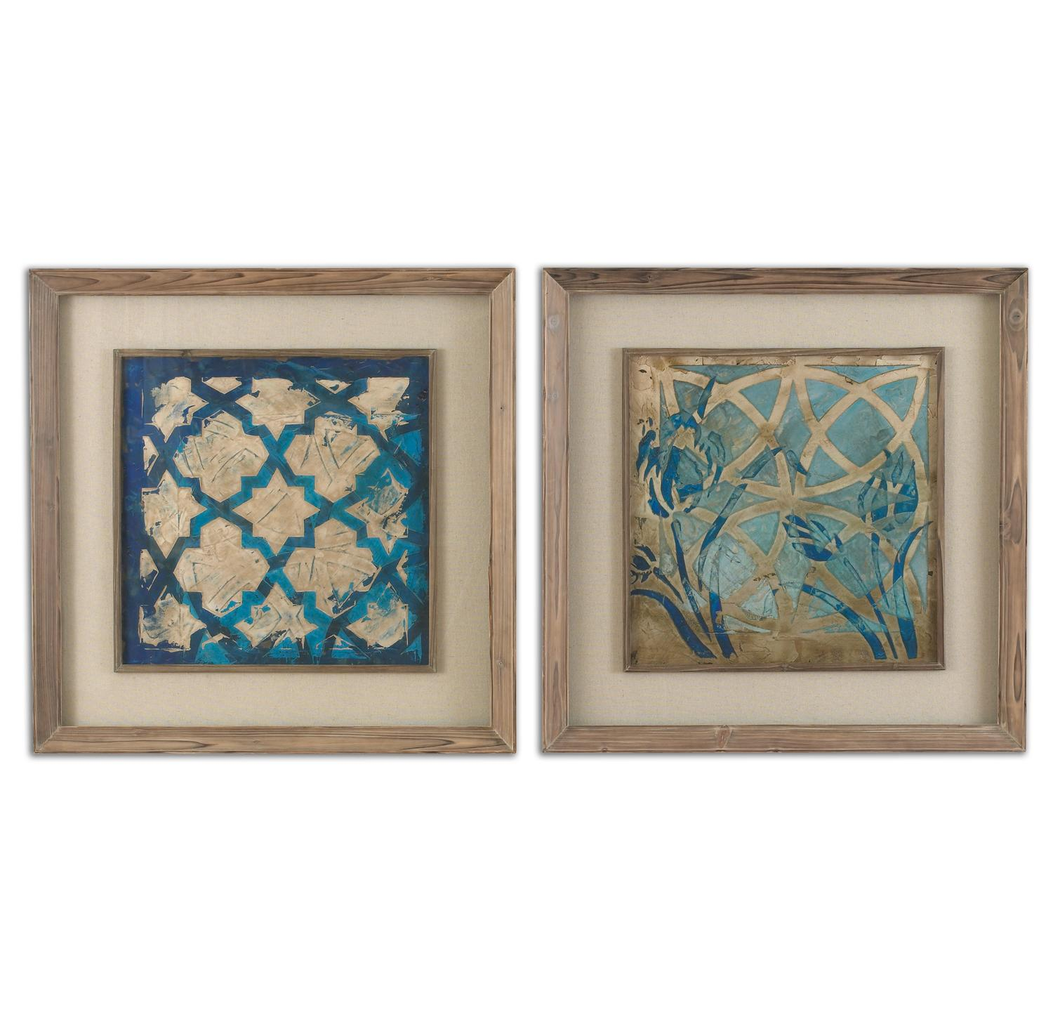 """Set of 2 Distressed Blue Moroccan Inspired Patterns Framed Print Wall Art 31"""""""
