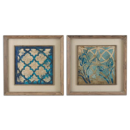Set of 2 Distressed Blue Moroccan Inspired Patterns Framed Print ...