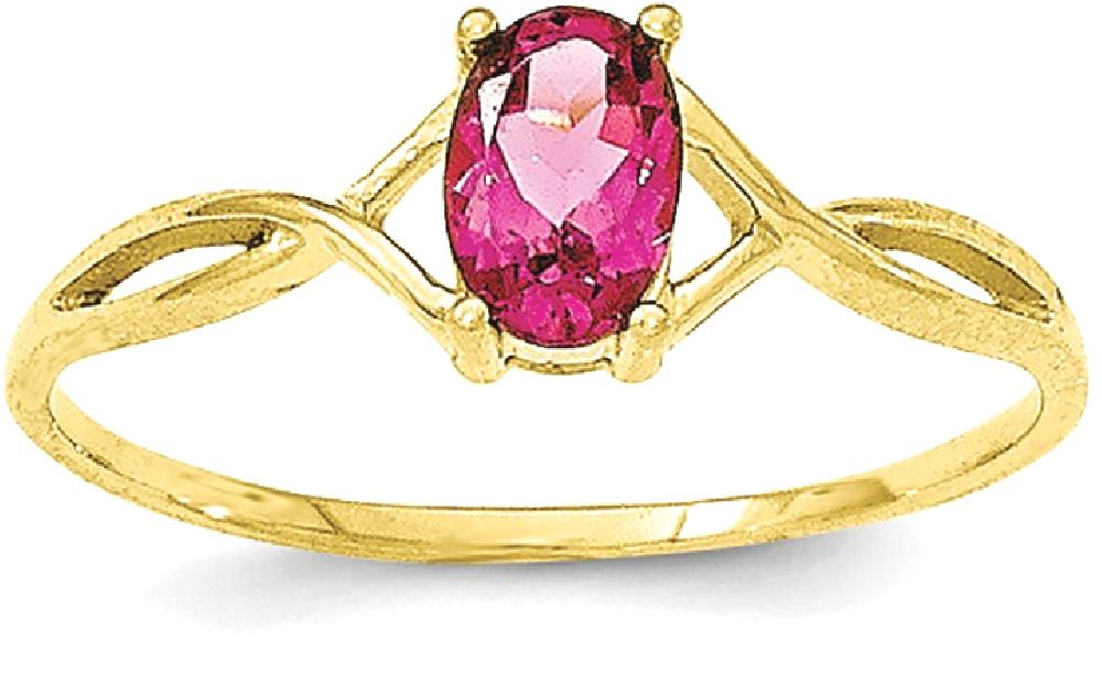 ICE CARATS 10kt Yellow Gold Pink Tourmaline Birthstone Band Ring Size 7.00 Stone October Oval Style Fine Jewelry Ideal... by IceCarats Designer Jewelry Gift USA