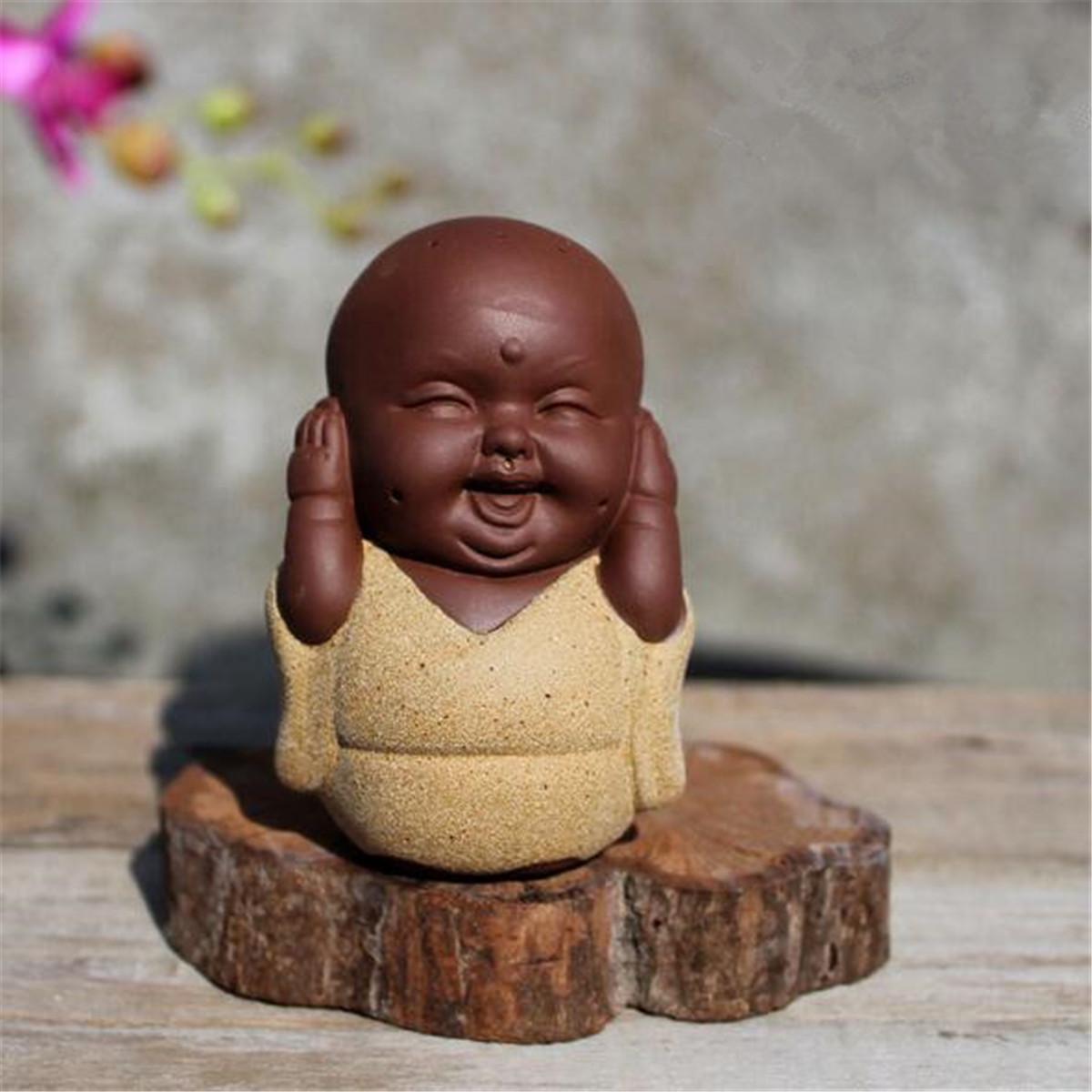 SET OF 3 Speak Hear See NO Evil Buddha Monk Statue Ceramic Tea Pet Shelf Decor