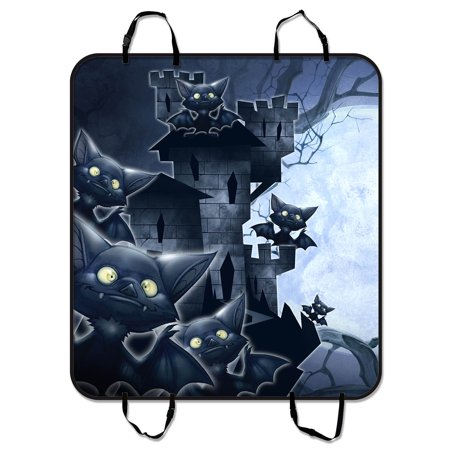 YKCG Halloween Castle Funny Bats Full Moon Night Pet Seat Cover Car Seat Cover for Pets Cargo Mats and Hammocks for Cars Trucks and SUVs 54x60 (It's Halloween Night Cars)