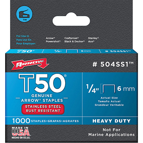 "Arrow Fastener Co. 504SS1 1/4"" T50 Stainless Steel Staples"