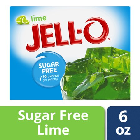 (4 Pack) Jell-O Lime Sugar Free Gelatin Mix, 0.6 oz (Sugar Free Splash)