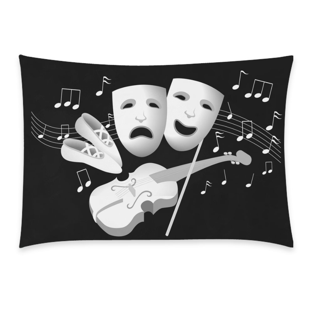 ZKGK Funny Music Note Violin Home Decor, White and Black Soft Cotton Pillowcase 20 x 30 Inches,Happy Music Illustration of Entertainment Pillow Cover Case Shams Decorative