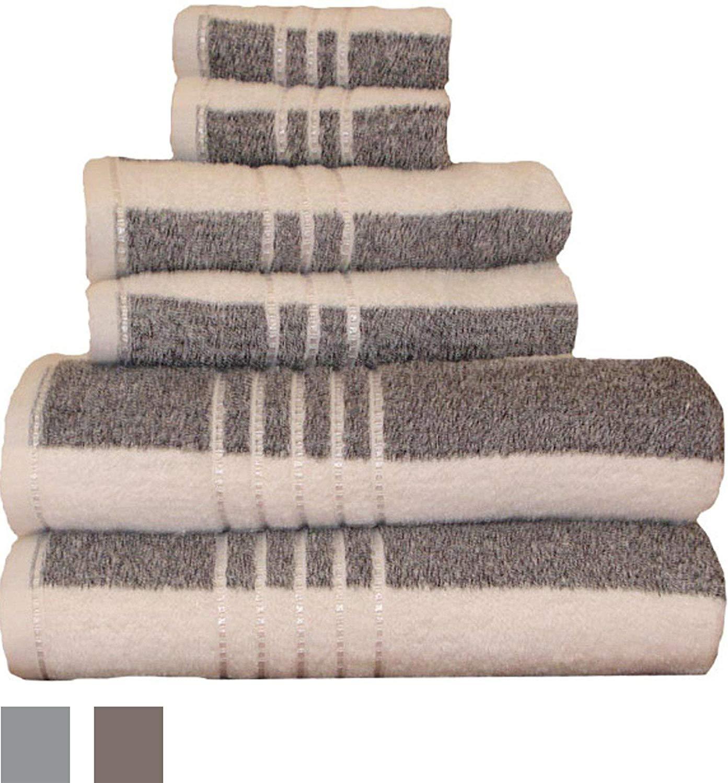 Revere Mills 6 Piece Soft Touch Stripe Oversized Yarn Dyed Striped Towel Set Black