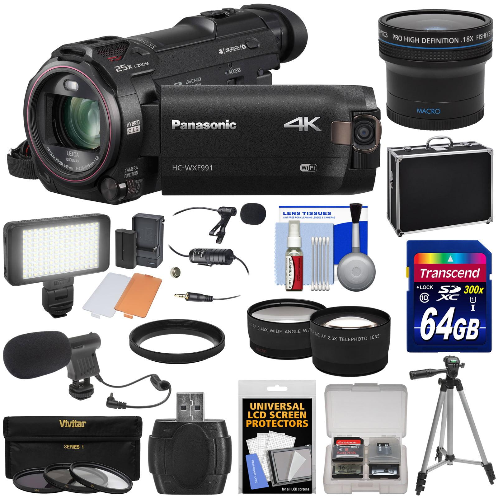 Panasonic HC-WXF991 Wi-Fi 4K Ultra HD Video Camera Camcorder with 64GB + Case + Tripod + LED Light + 2 Mics +... by Panasonic