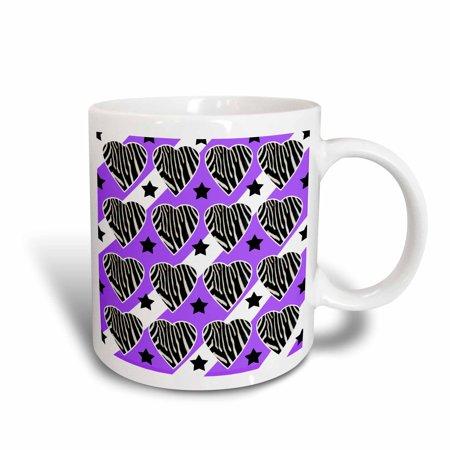 3dRose Punk Rockabilly Zebra Purple White Black Print, Ceramic Mug, 11-ounce ()