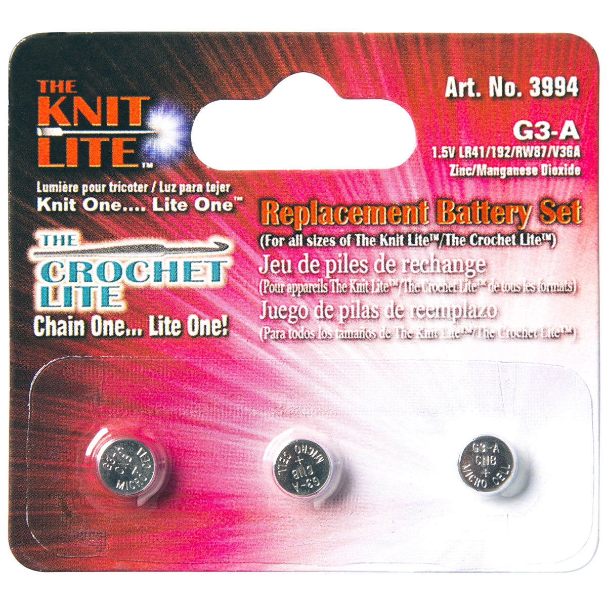 Cornerstone Products 3994 Crochet Lite Replacement Battery, 3-Pack Multi-Colored