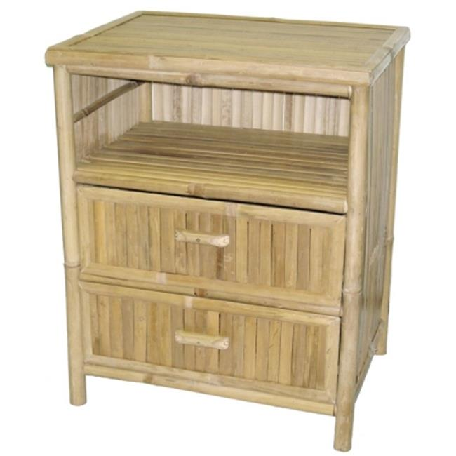Bamboo54 5478 Natural Bamboo Table-Stand with 2 Drawers