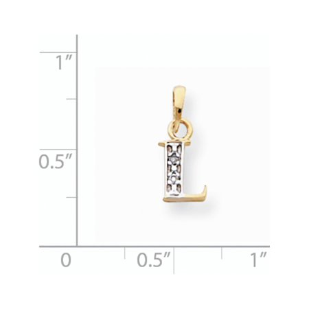 14k Yellow Gold w/Rhodium  Polished .01ct Diamond Initial L (8x15mm) Pendant / Charm - image 1 of 2