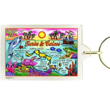 Turks and Caicos Map Acrylic Rectangular Souvenir Keychain 2.5 inches X 1.5 inches (New York Souvenirs Keychains)