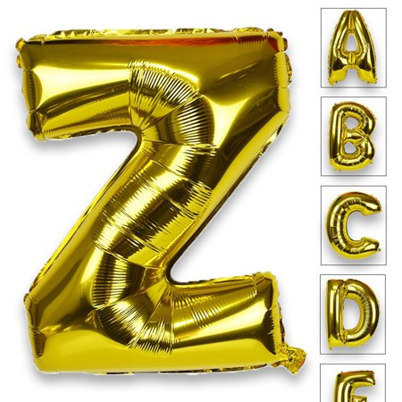 Just Artifacts Glossy Gold (30-inch) Decorative Floating Foil Mylar Balloons - Letter: Z - Letter and Number Balloons for any Name or Number Combination! (Letter Mylar Balloons)