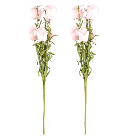 Dorm Windowsill Foam Artificial Bouquet Flower Light Pink 17.5 Inch Height 2pcs